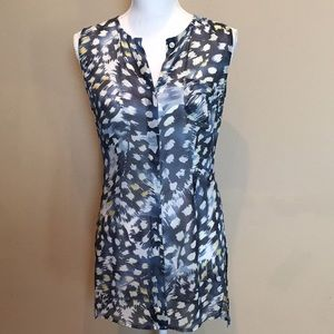 CAbi Sheer Sleeveless Blouse Fitted Tunic Buttons